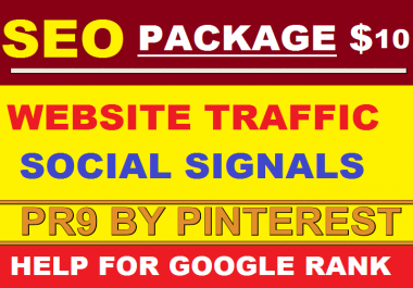 SEO Package 200,000 USA Website Traffic by Social Media + 2,500 High PR9 SEO Social Signals from Pinterest + 249 Search Engine Submission Bookmark Free for Google Ranking Only