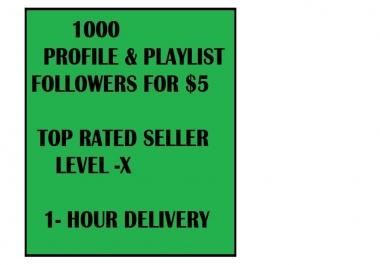 1000 spot profile followers and playlist followers high quality followers permanent