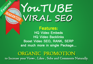 RANK YouTube Viral SEO Package, with video embeds, backlinks, social signals, veiws lykes and more