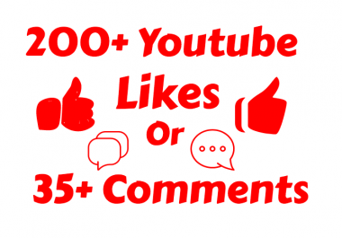 I will add 200-250+ Real Youtube Likes or 35 Custom Comments