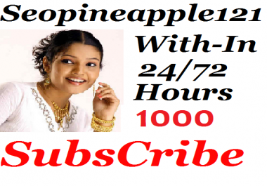 1000+Youtube Subs'cribers Non Drop 24-72 hours Super Fast Service