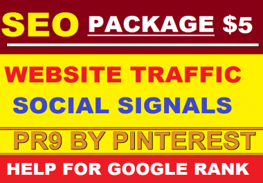 SEO Package 100,000 USA Website Traffic by Social Media + 1000 High PR9 SEO Social Signals from Pinterest + 249 Search Engine Submission Bookmark Free for Google Ranking Only