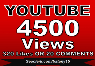Fast 4000-4500 YouTube Views OR 320+ YouTube Likes OR  20 Custom YouTube Comments in Just 1 Day