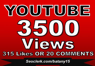 Fast 3000-3500 YouTube Views OR 320+ YouTube Likes OR  20 Custom YouTube Comments in Just 1 Day