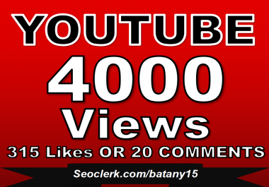 Fast 3000-4000 Youtube Views OR 315+ Fast YouTube Likes OR 20 Custom YouTube Comments within 24 Hour