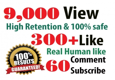 9,000 HR youtube Views + 300 youtube Likes + 60 Subscribers  + 5 Comment