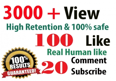 3,000 HR youtube Views + 100 youtube Likes + 20 subscribers  + 5 Comment