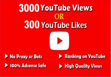 i provide you 3000 high rented  views OR 300 VIDEO LIKE