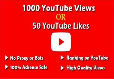 i provide you 1000 HR Youtube views OR 300 VIDEO LIKES