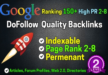 I will create POWERFULL 150+ Google Ranking High PR Dofollow Seo Backlinks
