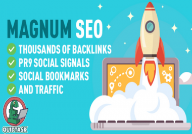 Magnum SEO - 10,000 PBN Backlinks, PR9 Social Signals, Do-Follow links, High PA and DA Posts and Social Bookmarks including promotion on Social Media and a lot more