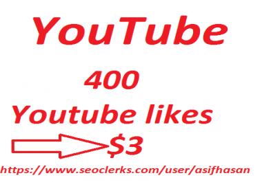 non dropped 400 Youtube likes in 24-48 hours