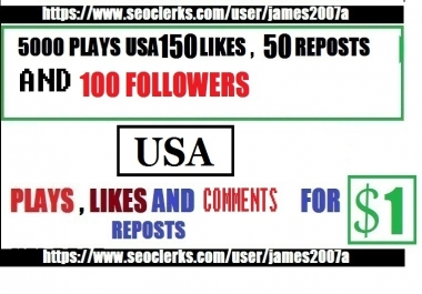 5,000 USA Plays with USA 150 Likes 50 Reposts and 100 Followers