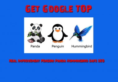 Get Google TOP Ranking, Real Improvement Penguin, Panda & Hummingbird Safe SEO