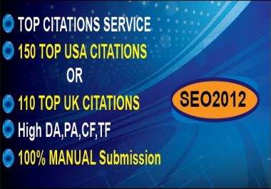 submit business details on 150 TOP USA OR 110 TOP UK CITATION SITES