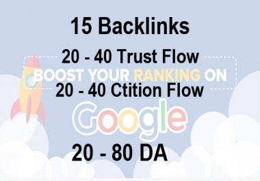 I will provide 30 high Trust flow and citation flow Dofollow backlinks on high DA