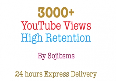 3000 High Retention ( Upto 90 Percent HR ) youtube views