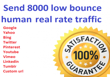 I will drive 8000+ low bounce rate worldwide traffic from social media