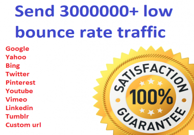 Send 3000000+ low bounce rate worldwide traffic from social media
