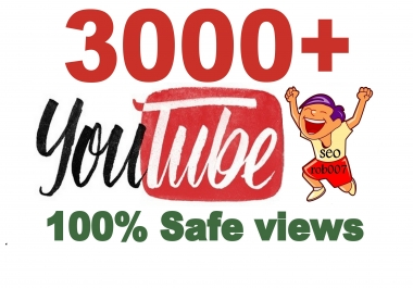3000+ Y0uTube Vieews in 24-48 Hours Good Retention A+ BrandService