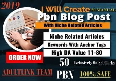 Create 50 PBN Blog Network with niche related articles for AduIt websites