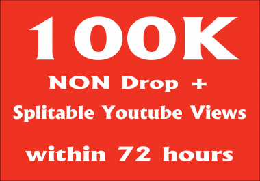 Provide You 100000+ NON Drop + Splitable Youtube Views and 100 likes  within 72 hours
