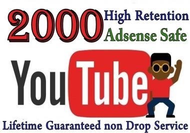 YOUTUBE 2000+ Vie'ws Real Human Lifetime Guaranteed
