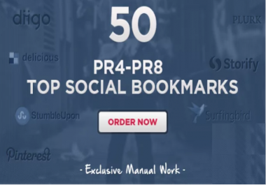 I will do 60 Manual Social Bookmarking Submissions PR 9 to 1