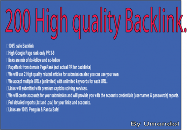 Submit 200 High PR 3-9 Backlink