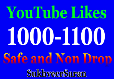1000 Real and Safe Non Drop YouTube video likes with Fast Delivery