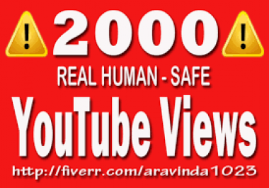Provide you 2000+ Real Human FAST YOUTUBE RETENTION Views In less then 24 - 36 Hour