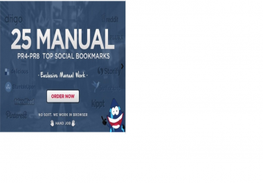 make 25 top PR8 to PR4 social bookmarks, Full Manual Work, Order NOW