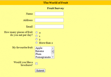 I will create HTML web forms For Your Website