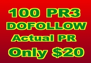 provide 100 PR3 Actual Pagerank Backlinks 100% DOFOLLOW 100% Manual Unlimited Keywords and URLS accepted ***FREE RANKING ANALYSIS REPORT***