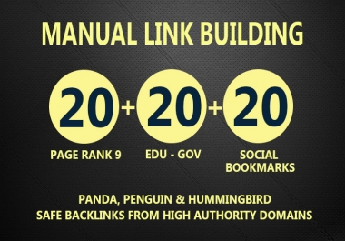 Get 30 PR9 + 20 EDU- GOV + 20 SOCIAL BOOKMARKS Backlinks From Authority Domains