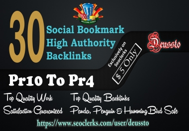 submit your site on Top 30 Social bookmark Pr10 to Pr4