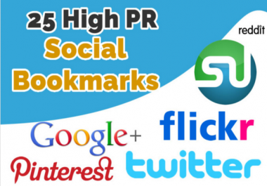 Do Manual Social bookmarking upto 25 sites PR 9 to 5
