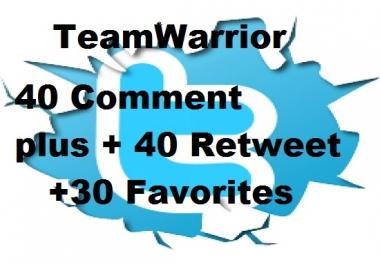 30 comment on twitter tweet plus 30 retweet and 30 favorites