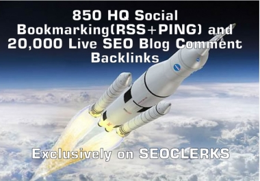 860 HQ Social Bookmarking RSS+PING and 20,000 Live SEO Blog Comment Backlinks