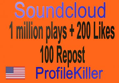 Soundcloud 1 Million Pla ys + 200 Lik es + 100 Rep osts