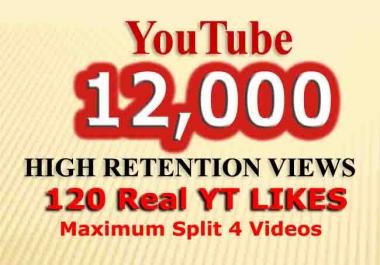 YouTube 12,000 Retention views + 120 Likes fast