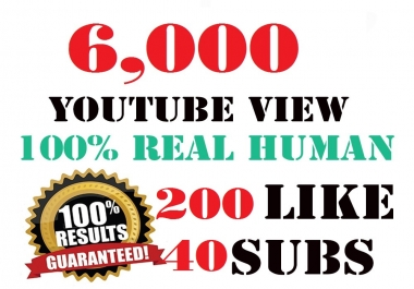 5,000 HR youtube Views + 200 youtube Likes + 50 subscribers