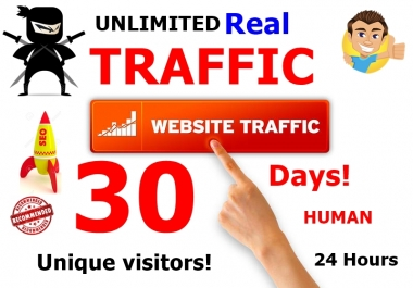 Drive Unlimited Real Human Targeted Traffic  to Your Website, Blogs,over 30 Days.