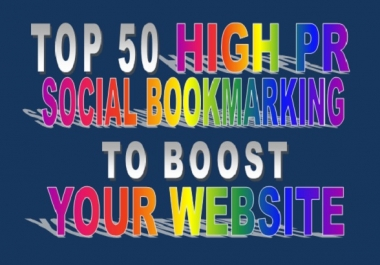 I will do Manual Social Bookmarking Top 50 high PR sites