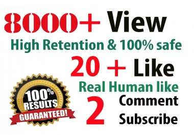 5,000  HR youtube Views + 200 Likes  + 50 subscribers +  5 Comments Combination