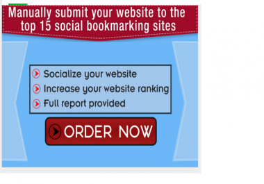 manually submit your website to the top 15 social bookmarking