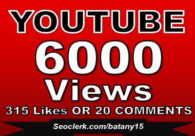 Get 5000-6000 YouTube Views OR 600+ YouTube Likes  OR 40 Custom YouTube Comments  Just