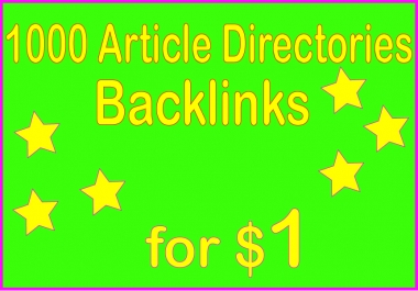 Provide 1000+ HQ PR Article Directories Backlinks