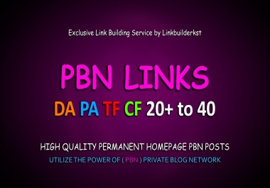 10 Permanent Homepage PBN Links - DA/PA/TF/CF 20+ To 40