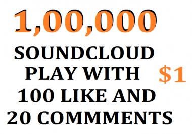 100,000 USA soundcloud play+100 like+ 20 comments